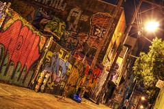 SF Mission, is this art? (PeterThoeny) Tags: sanfrancisco california light house color art colors night fence graffiti alley streetlight mural colorful raw outdoor mission missiondistrict hdr photomatix fav100 1xp nex6 sel50f18