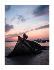 Sinking into the mud II (Christa (ch-cnb)) Tags: uk longexposure england sunrise river boats dawn boat suffolk fishing ship mud decay olympus quay estuary filter pro wreck zuiko decaying eastanglia omd orford orfordness alde em5 nd110 microfourthirds mzd1240mm