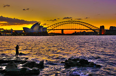 A Night at the Opera (Richard Cartawick) Tags: city bridge light sunset sun nature water skyline outdoors cityscape outdoor sydney bridges sunsets australia newsouthwales operahouse sydneyoperahouse sydneyharbourbridge oceania mrsmacquariespoint mrsmacquarieschair