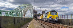 Mersey Crossings (Terry 47401) Tags: panorama river bridges structure historic container mersey runcorn widnes freightliner 70016 ethelfleda linertrain 8dassociation
