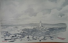 MUXIA (paco tejedor) Tags: espaa faro mar spain galicia nubes watercolour acuarela piedras grises lacorua muxia paseoporgalicia
