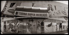 Mi Tierra Super Mercado diptych (efo) Tags: abandoned film store diptych closed richmond grocery homemadecamera mysteriouscamera swinglenspanoramic