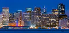 Colorful San Francisco sky line (davidyuweb) Tags: light sky moon rain gold san francisco colorful purple center line embarcadero lineblue