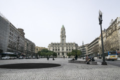 City Hall, Porto, Portugal (jackie weisberg) Tags: plaza tourism portugal architecture buildings cityhall landmark tourists porto hightower clrigostower famousmonument imposingbuilding carillonclock jackieweisberg aliadosavenue aheartofdowntown
