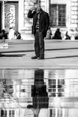 Place de la Rpublique (frfourrier) Tags: old portrait urban blackandwhite bw white man black paris reflection beer composition contrast canon oldman alcohol 5d framing miror 135mm republique