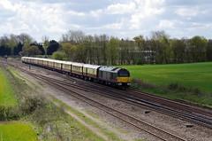 "67006 ""Royal Sovereign"" - Harrowden Junction - 27-04-16 (techno-phobe) Tags: northamptonshire skip dbs wellingborough mml royalsovereign midlandmainline class67 67006 dbschenker harrowdenjunction"
