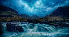 The Glen (baldridge1271) Tags: longexposure mountain water grass clouds landscape scotland waterfall rocks