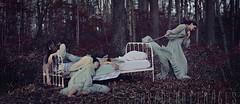 Miles to go before I sleep (Tara Denny) Tags: woman selfportrait photography bed woods dress sleep fine surreal multiplicity creepy tired summertime asleep conceptual insomnia photog deprivation slugglish