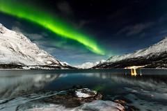 Laksvatn Fjord (liewjw) Tags: winter mountains norway stars landscapes fjord northernlights auroraborealis troms troms