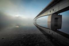 Into the Twilight Zone (Yuga Kurita) Tags: bridge lake reflection japan reflections landscape nikon fuji mt mount fujisan kawaguchi kawaguchiko fujiyama 1424mm