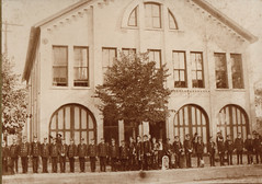 Fire Station, Old Bldg, Firemen in Front