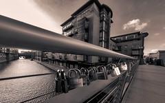 Love locks (Mayur Shivz - Photography) Tags: bridge blackandwhite white black west love water monochrome mailbox turn boats photography canal birmingham locks salvage midlands gopro hero4