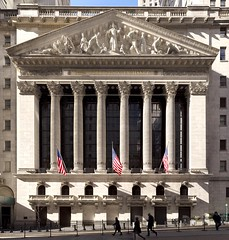 The New York Stock Exchange (josullivan.59) Tags: nyc travel light shadow urban panorama usa white newyork detail geometric architecture temple downtown day unitedstates manhattan sunday stock january clear historical lower exchange nyse wallst broadst 2016 canonef24105mmf4lisusm 3exp canon6d