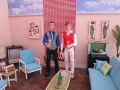 Ken and Ken (Wandy in Pensacola) Tags: vintage doll furniture ken barbie hunter dexter hybrid huntsman gotogether dolldiorama barbiediorama goodlookinken everafterhigh