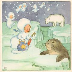 Snow in the far north (katinthecupboard) Tags: winter snow polarbear seal 1937 anthropomorthic vintagechildrensillustrations idabohattamorpurgo