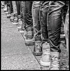 waiting in line (B. Versteeg) Tags: street people holland feet dutch amsterdam outside nikon market zwartwit albert nederland sneakers jeans markt schoenen stad cuyp shoea d700