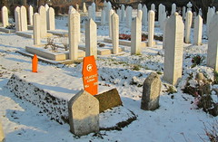 The poor one (vittorio vida) Tags: winter orange white snow graveyard sarajevo bosnia muslim islam tomb mosque graves balkans metery