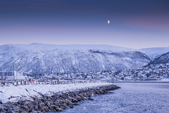 Afternoon Moon (liewjw) Tags: sea moon snow norway canon landscape norge tromso
