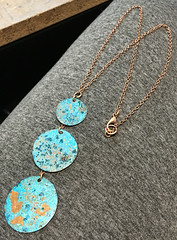 Patina Blue Turquoise Copper Circle Disk Necklace with Copper Chain (amaliyjewelry) Tags: blue beach fashion circle necklace handmade turquoise jewelry copper etsy boho gypsy bohemian oval multi choker patina amaliyjewelry