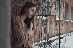 Liza (ivankopchenov) Tags: city winter light portrait white snow cold building cute water girl beautiful weather wall sadness mood natural wind naturallight gloom melancholy sorrow