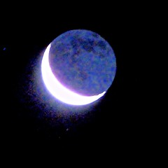 Pre-Dawn Moon As Starship (chicbee04) Tags: winter arizona moon color night effects haze warm tucson crescent nightsky fx predawn lunar falsecolor southwesternusa