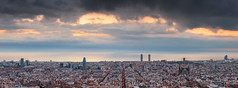 Barcelona [Explored] (Ramn Menndez Covelo) Tags: barcelona city family sea sky urban panorama espaa streets tower familia horizontal skyline sunrise buildings hotel mar spain edificios mediterranean cityscape torre cloudy w bcn arts dramatic ciudad paisaje panoramic catalonia amanecer cielo sacred sail urbana urbano catalunya nublado vela sagrada catalua calles mediterrneo dal agbar mapfre dramtico