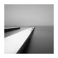 Nagahama jetty, 2013 (StephenCairns) Tags: longexposure winter blackandwhite snow japan calm line nagahama lakebiwa 2013