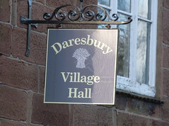 Daresbury Village Hall - Chester Road, Daresbury - sign (ell brown) Tags: greatbritain england sign village cheshire unitedkingdom daresbury halton chesterrd daresburyvillage daresburyconservationarea daresburyvillagehall chesterrddaresbury