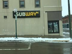 Subway- Kaukauna, WI (MichaelSteeber) Tags: snow building sign wisconsin subway outside outdoors restaurant downtown driving kaukauna