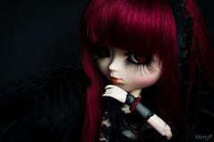 Angel of darkness~ (MintyP.) Tags: red 6 black dark rouge photography doll noir eyelashes sony pullip minty 58mm custo helios poupée merl nex bordeau obitsu gotich goove elwyna mintyp