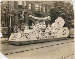 Frankfurter float in a parade (simpleinsomnia) Tags: new york old white ny newyork black monochrome vintage found blackwhite antique snapshot parade photograph albany vernacular float frankfurter foundphotograph