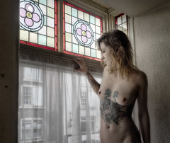 Emmy_047 (Brian L55) Tags: woman window glass tattoo nude stained dereliction