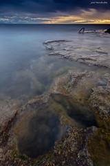 Amanece que no es poco. (Jose HL) Tags: sea espaa seascape valencia sunrise mar spain cabo mediterraneo paisaje alicante rocas cervera josehernandez cabocervera anamecer largaexposicindiurna