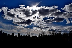 Silhouette (Jane Olsen ( Chardonnay)) Tags: sky calgary skyline clouds sillouette sunburst