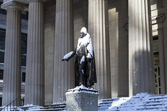 Snow covered George (wwward0) Tags: nyc snow statue outdoor financialdistrict cc georgewashington wallst fidi wwward0
