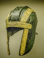 Funerary bronze helmet with gold trim from the necropolis at Archontiko Greek after 530 BCE (mharrsch) Tags: chicago bronze soldier greek death gold illinois ancient helmet exhibit greece armor 6thcenturybce burial warrior armour funerary thefieldmuseum thegreeks mharrsch archontiko thegreeksagamemnontoalexanderthegreat