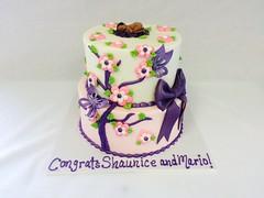 Baby Shower Flower Cake (tasteoflovebakery) Tags: pink baby flower tree cake butterfly shower purple bow congrats
