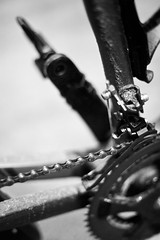 Day Forty Five / Year Four. (evilibby) Tags: blackandwhite bw bike bicycle blackwhite mud chain trainer chainring project365