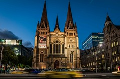 Fed aquare... (Syahrel Azha Hashim) Tags: street travel light vacation holiday detail building church architecture nikon colorful cityscape dof nightshot getaway details streetphotography naturallight australia federationsquare melbourne tokina motionblur handheld shallow aussie simple 11mm uwa ultrawideangle d300s syahrel