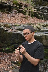 T Dubz i. (miranda.valenti12) Tags: trees portrait nature leaves forest t outside outdoors fire lights weed rocks hiking trevor wildlife smoke smoking lighter wilderness blunt dubz