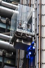 Glass Elevator Blue (andryn2006) Tags: england building london architecture lift unitedkingdom elevator insurance hitech lloyds limestreet richardrogers