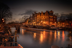Rising the night (angheloflores) Tags: longexposure travel houses sunset sky urban holland water netherlands colors amsterdam architecture clouds reflections canal explore brouwersgracht