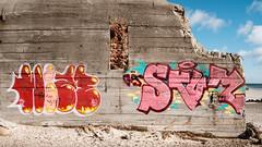 Street Art on the Beach (Poul_Werner) Tags: ocean family sea beach strand easter denmark grafitti familie bunker dk danmark skagen ferie pske hav grenen northdenmarkregion
