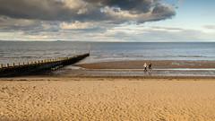 On Portobello Beach (Joe Dunckley) Tags: uk sea people seascape beach walking landscape coast scotland sand couple edinburgh sunny walker northsea portobello groyne firthofforth seadefence portobellobeach