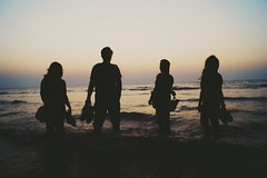 We are together... (himanshu_07) Tags: ocean people sun feet beach set loving landscape happy evening bare mumbai