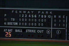 """One hit? One goddamn hit? That's all we get??"" (ConfessionalPoet) Tags: baseball redsox fenwaypark greenmonster scoreboard shutout noscore onehit"