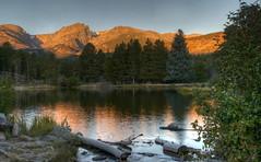 Rocky Mountain Sunrise (nebulous 1) Tags: morning trees light lake mountains reflection nature sunrise landscape nikon earlymorning rmnp pinetrees rockymountainnationalpark spraguelake nebulous1 rockymountainsunrise