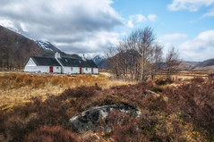 Sweet little cottage..Glencoe (cheese and pickle) Tags: blue trees winter orange mountain mountains color colour building tree history nature beautiful beauty clouds rural walking scotland spring nikon rocks track seasons natural britain outdoor hiking heather hill cottage hills remote house scottishhighlands