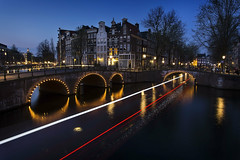 invisible canal barge (BarryKelly) Tags: bridge blue house amsterdam night canal long exposure hour barge