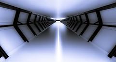 To infinity... and beyond (TS446Photo) Tags: camera uk blue light london geometric lines station architecture modern club train mono starwars nikon df exposure britain space wide rail tunnel dslr fx canarywharf crossrail tunnle nikoneurope ts446 nikondf